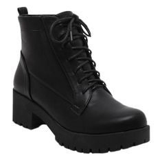 Black Lace-Up Chunky Heel Short Boots Black ($34) ❤ liked on Polyvore featuring shoes, boots, ankle booties, ankle boots, black lace up ankle booties, black boots, black booties and black bootie