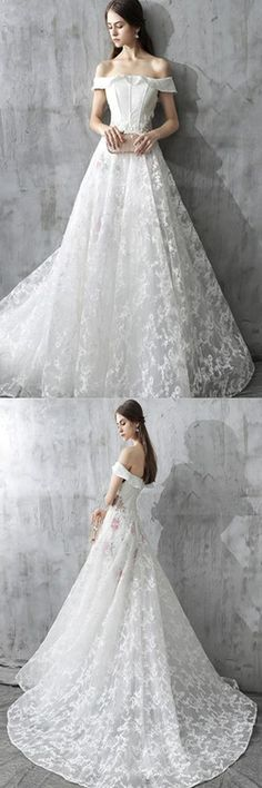 Simple Word Long Shoulder Wwist Lace Wedding Dress