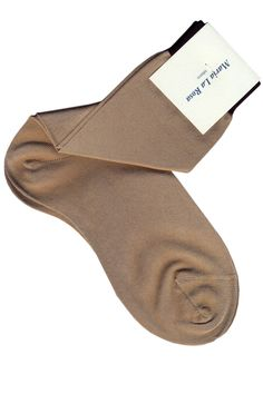 Ankle socks beige and black color. 50% silk 50% poly