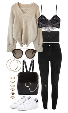 """""""Untitled #90"""" by amanda-thoresson ❤ liked on Polyvore featuring Yves Saint Laurent, River Island, Chloé, adidas Originals, STELLA McCARTNEY, Forever 21 and Prada"""