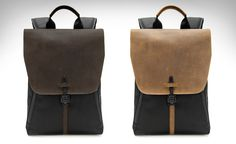 Staad Laptop BackPack - Made of waxed canvas or ballistic nylon and capped with a leather flap that stays secured shut thanks to a vintage WWII-era buckle. By WaterField Designs | sfbags.com