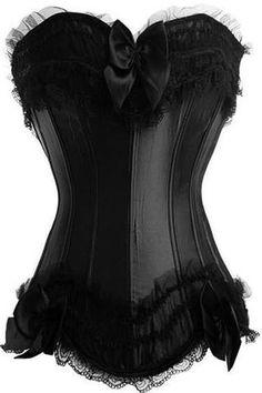 b8a1230371 Black Satin Burlesque Overbust Corset Burlesque Corset
