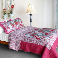 Rose Garden Cotton 3PC VermicelliQuilted Printed Quilt Set FullQueen Size ** Click image to review more details.