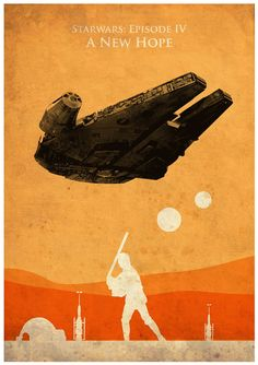 Vintage Star Wars trilogía cartel conjunto por MyGeekPosters