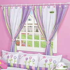 cortinas - Szukaj w Google Home Curtains, Country Curtains, Window Curtains, Girl Room, Girls Bedroom, Ideas Habitaciones, Curtain Designs, Living Room Kitchen, Quilting Projects