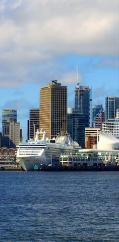 Cityscape with cruise ship port in Vancouver, Canada.