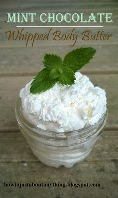DIY Mint Chocolate Whipped Body Butter. Smells good enough to eat while leaving your dry skin super moisturized!