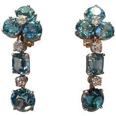 Platinum, diamond and Zircon (approx. 9.5 cts.) drop earrings, c. 1940