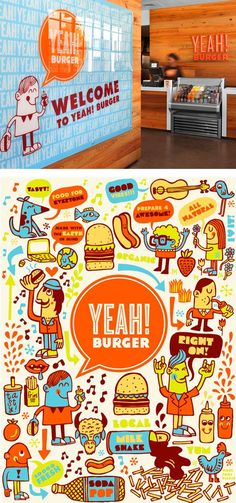 Awesome illustrative composition for Yeah! Burger. #vectorart #vectorinspiration #restaurantgraphics