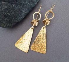 Hammered Brass Earrings Gold Dangle Earrings Greek Jewelry Artisan Handmade Modern Bohemian Jewelry