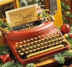 UNSHELVED WORDS: Vintage Keys | The typewriter has been repainted in a delicious rose red...so shabby chic