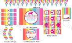 Rainbow Unicorn Birthday Party Pack Printable Custom DIY by slindb, $35.00