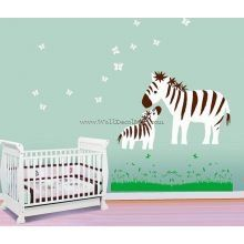 Mother Zebra And Baby Play With Butterfly Wall Decals