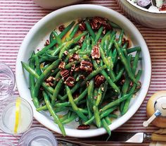 Green Beans With Pecans and Maple Vinaigrette   Steamed green beans a bore? Jazz up your standard side with these tasty recipes.
