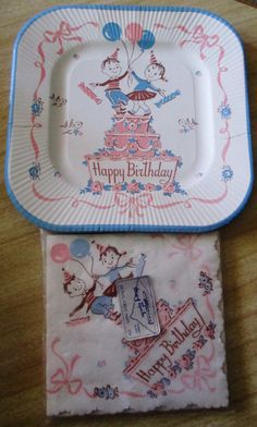 House of Paper  Inc - Paper napkins and Paper Plates Birthday Design - 1950s & A delightfully fun vintage birthday party paper plate. #vintage ...