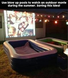 is another fun idea for summer nights. Use blow up pools to watch movies ou., This is another fun idea for summer nights. Use blow up pools to watch movies ou., This is another fun idea for summer nights. Use blow up pools to watch movies ou. Backyard Movie Nights, Outdoor Movie Nights, Outdoor Movie Party, Backyard Movie Party, Outdoor Movie Screen, Movie Projector Outdoor, Backyard Movie Theaters, Backyard Birthday, Yard Party