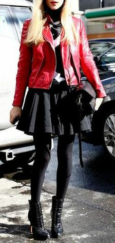 Red Moto & heeled Ankle Boots