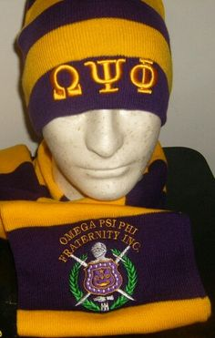 purple and gold omega psi phi winter hat and scarf
