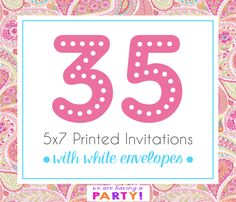 35, 5x7 Invitations with White Envelopes Professionally Printed by WeAreHavingaParty on Etsy https://www.etsy.com/listing/263026478/35-5x7-invitations-with-white-envelopes
