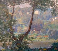 """""""Tohickon,"""" painting by Daniel Garber - Impressionist Artist Impressionist Landscape, Impressionist Artists, Landscape Art, Landscape Paintings, Classical Realism, American Impressionism, Mountain Paintings, Still Life Art, American Artists"""