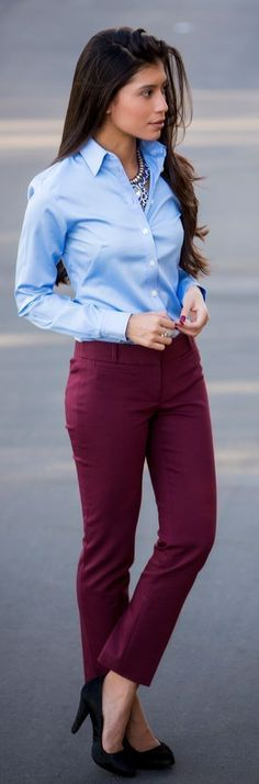 Burgundy trousers with a crisp button-up to work and heels. Fall fashion ideas 2015.