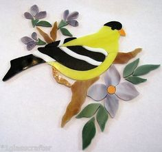Gold finch bird stained glass precut mosaic inlay kit. Many designs to choose from on ebay.