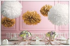 Wedding Favors Party Supplies - Favors and Flowers :: Other Occasions :: Anniversary Favors :: Gold and White Pom Pom Decoration Kit Tissue Pom Poms, Paper Pom Poms, Tissue Paper, Tissue Balls, Tissue Flowers, Paper Flowers, Pom Pom Decorations, Gold Party Decorations, 50th Wedding Anniversary