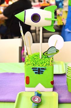 BUZZ Lightyear Party - Centerpiece Holder - Buzz Party - Toy Story Birthday Party- Boy Birthday - Boys Party - Girl - P.S. Kreative Kreation on Etsy, $10.00
