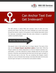 Can Anchor Text Ever Get Irrelevant? Diversifying naturally is one of the effective ways to deal with algorithmic updates launched by These updates do not indicate irrelevancy of anchor text. Learn More! Viral Marketing, Internet Marketing, Seo Articles, Web Google, Seo Company, Social Media Content, Copywriting, Seo Services, Search Engine Optimization