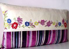 French Vintage Embroidery & Pierre Frey Velvet Stripe  unique Cushion Pillow Coussin