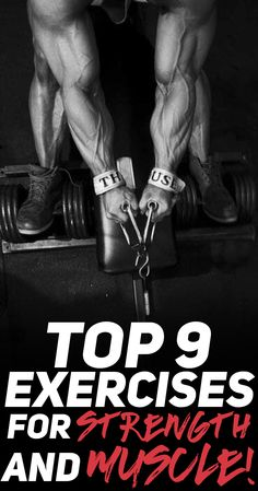 If your goal is to build muscle mass and get stronger at the gym then you really need to consider adding these 9 exercises to your workout plan. Check out the top 9 exercises for strength and muscle! #fitness #gym #exercise #workout #bodybuilding #muscle #strength #fit