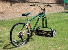 MOWERCYCLE! Human powered lawn-mower, bike lawn mower, bike mower, bicycle lawnmower, human powered lawn mower, DIY design  this has peggy's name all over it!!!