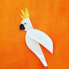 A paper plate made into a cockatoo - Junlajubalam Paper Plate Art, Paper Plate Animals, Paper Plate Crafts For Kids, Animal Crafts For Kids, Craft Activities For Kids, Paper Plates, Art For Kids, Craft Ideas, Australian Animals