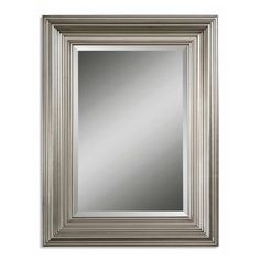 Two for the master bath? Uttermost Mario Silver Wood Framed Beveled Mirror - Overstock Shopping - Great Deals on Uttermost Mirrors Wood Wall Mirror, Rectangular Mirror, Silver Framed Mirror, Mirror Gallery Wall, Oval Wall Mirror, Mirror Design Wall, Beveled Mirror, Mirror Wall, Frames On Wall