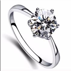 Elegant Simple Sterling Silver Cubic Zirconia Ring Brand New .925 Sterling Silver Stamped #R044 Jewelry Rings