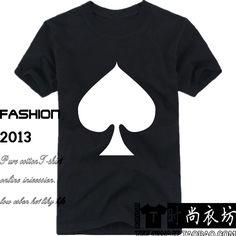 Moda del verano del envío Poker diseño corta camiseta pala Shirt corazón del club Top T del diamante camisa(China (Mainland))