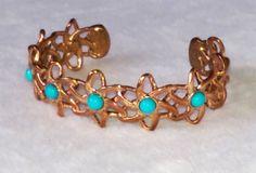 """Sleeping Beauty Turquoise & Copper Bracelet, 7""""…"""