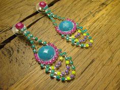 Brazilian Cocktail Crystal Drape Earrings by rockspapermetal