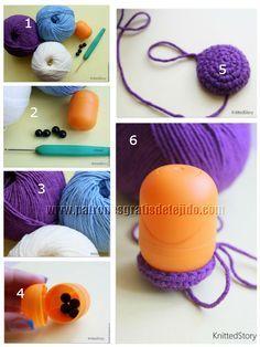 como hacer un buho crochet amigurumi sonajero Crochet Baby Toys, Crochet Amigurumi Free Patterns, Crochet For Kids, Sewing Stitches, Crochet Stitches, Knit Crochet, Crochet Crafts, Crochet Projects, Kawaii Crochet