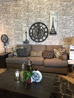 Showroom makeover-this pattern from Weathered Finishes can be seen at the Ashley Furniture York location #yorkwallstore