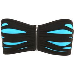 Black Blue Slash Bandeau Bra | Hot Topic ($6.48) ❤ liked on Polyvore featuring intimates, bras, tops, shirts, underwear, bandeau, blue bra, zipper bra, zip bra and bandeau bra