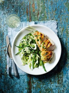 Healthy and delicious, this simple fennel and beans with griddled chicken and tarragon butter is perfect family food.