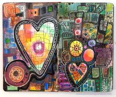 An art journal spread in a Moleskine Sketchbook. Heartful Ideas by Peony and…