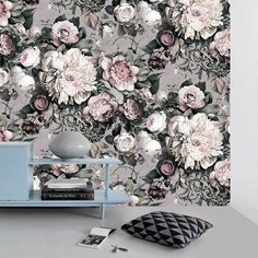 Dark Floral II Gray Fresco - Floral Wallpaper - by Ellie Cashman Design