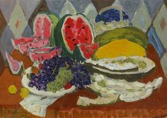 'Still life with fruits and watermelon', 1029 - Pyotr Konchalovsky (1876–1956)
