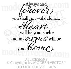 ALWAYS AND FOREVER Quote Vinyl Wall Decal Living room Home Decor Inspirational ♥