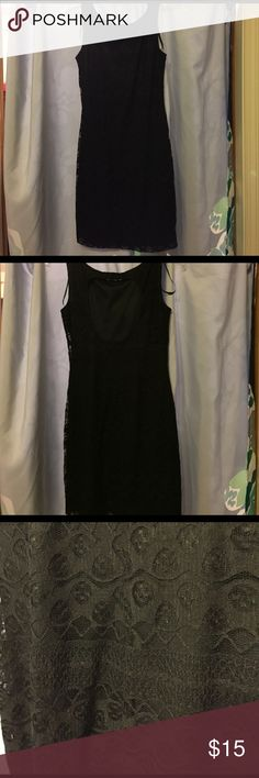 Black lace dress Knee length black lace dress. Never been worn, in great condition. Open back, stretch and size small. Lily Rose Dresses Mini