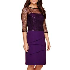 jcp | Maya Brooke 3/4-Sleeve Tiered Sheath Dress