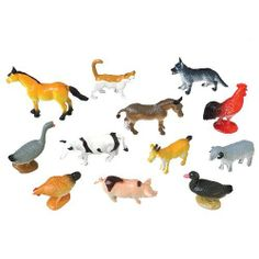 Mini Farm Animals by US Toy Company. $4.73. Size: 2-1/2 L.. Assorted styles: cow, pig, horse, sheep, chicken, duck, dog and cat.. Top Quality Children's Item.. Made of plastic.. Celebrate a child's birthday with a  fun farm animal theme.  Children can use these toy figures to make a pretend farm scene and moms can use these as unique cake decorations. Average size 2-1/2 L.""
