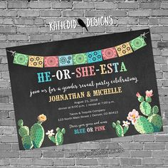 Fiesta gender reveal invitation cactus couples baby shower cinco de mayo coed twins mexican party he or she western Gender Reveal Themes, Baby Gender Reveal Party, Gender Party, Gender Reveal Invitations, Gender Reveal Twins, Baby Reveal Party Ideas, Unique Gender Reveal Ideas, Bebe Shower, Boho Baby Shower